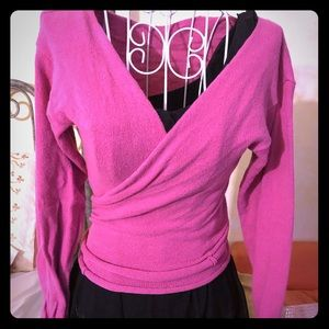 Dance warm-up wear., pink cardigan